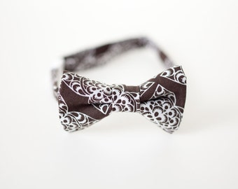 Boys Bow Tie - Brown with White Detail