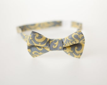 Little Boy Bowtie - Gray and Yellow