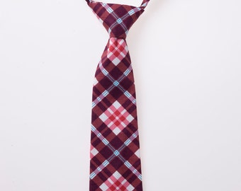Boy Tie - Purple and Red Plaid