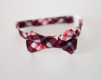 Boys Bowtie - Red and Purple Plaid