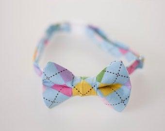 Boys Bow Tie - Pastel Argyle - Baby Bowtie