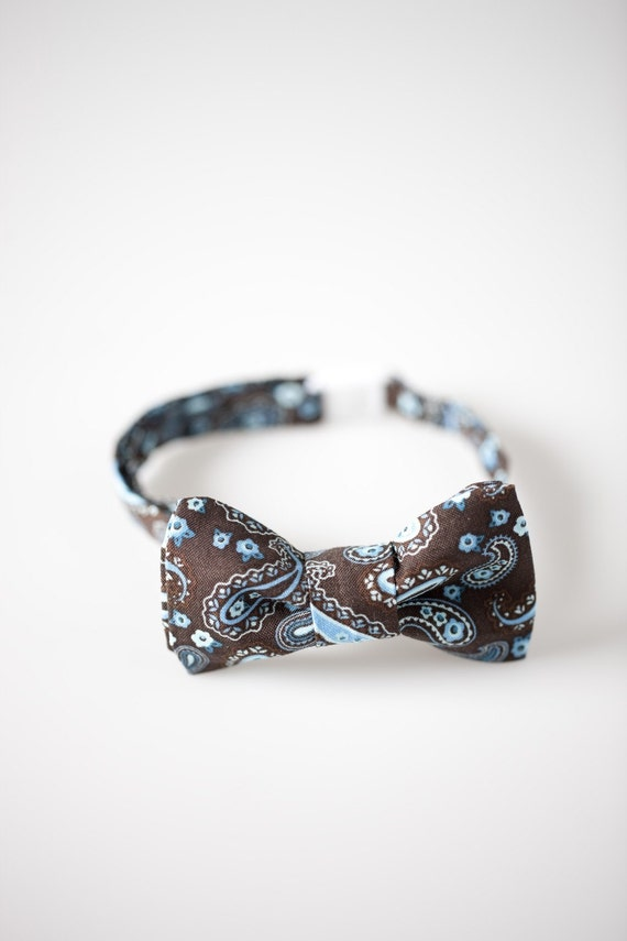 Boys Bow Tie - Brown and Blue Paisley