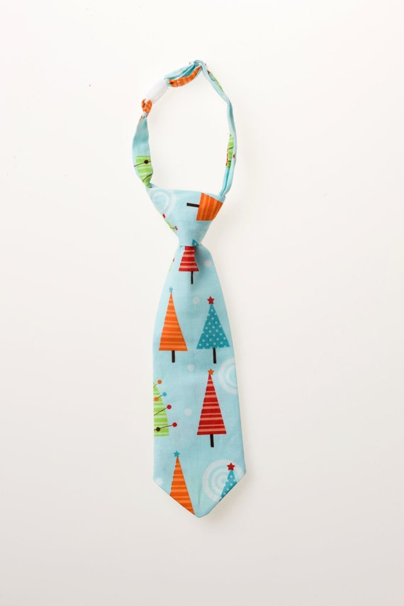 Toddler Necktie - Light Blue with Christmas Trees - Sizes 6M - 18M