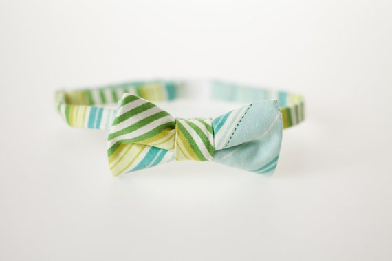 Little Boy Bow Tie - Blue, Green, and Yellow Stripes - Ready to Ship