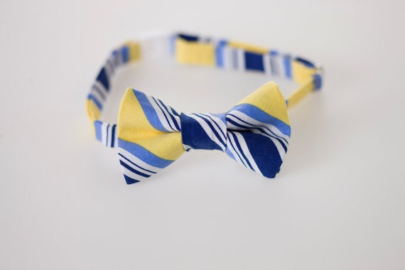 Childs Bowtie - Navy and Yellow Stripes - Sizes 6M - 9 years - Toddler Bow Tie
