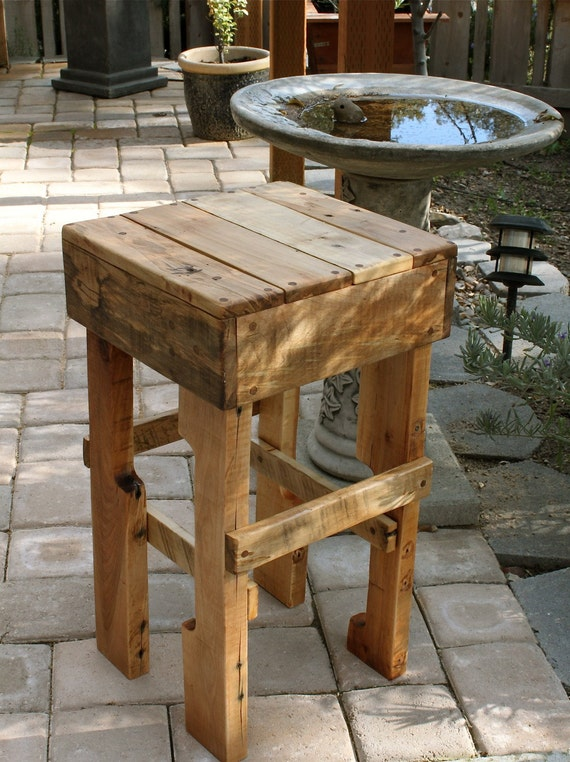 Items similar to rustic pallet wood tall stool on etsy