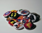 15 Assorted Super Hero Flat Back Buttons