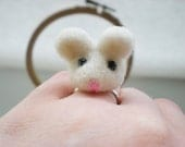 White Mouse Ring - White & Pink Needle Felted