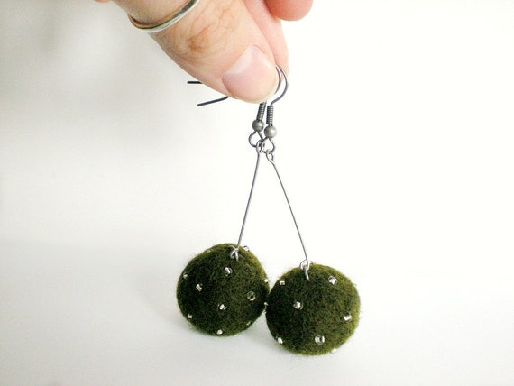 Green Felt Ball Earrings - Olive Green Needle Felted Ball Earrings with Clear Beads