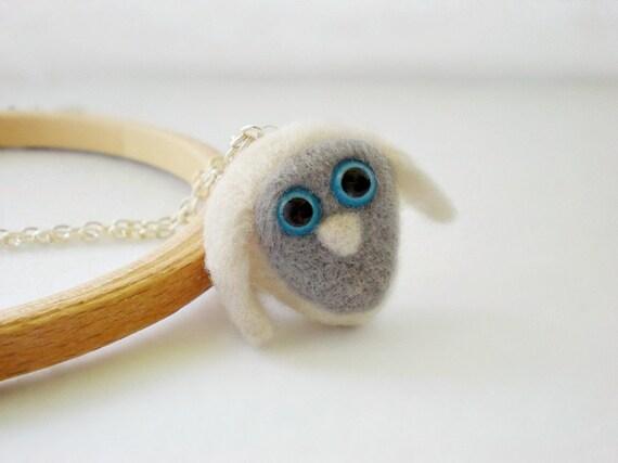 White Owl Necklace - Needle Felted Pendant