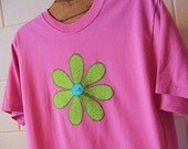 Applique Daisy Flower Tshirt for Women, Sizes S-5X, Plus Size Clothing, Free Shipping, Flower, Nature, Summer Fasion