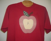 Applique Apple on Dark Red Tshirt, Sizes S-5X, Plus Size Clothing, Autumn, Nature, Easter Gift Free Shipping,