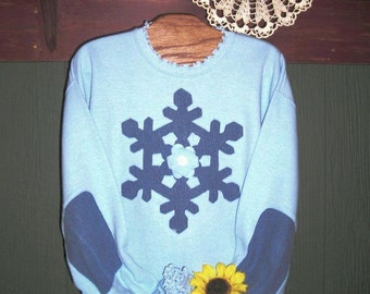 Snowflake Sweatshirt Upcycled Denim Lt Blue Reverse Applique with Elbow Patches Sizes S-4XL Ready-to-Ship Winter Christmas Gift Idea