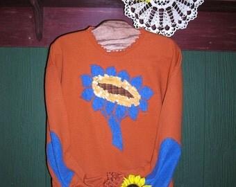 Sunflower Sweatshirt ,Rust Orange, Summer, Denim Elbow Patches, Upcycled Clothing, Sizes S-4X, Plus Size Clothing, Easter Gift Idea