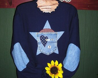 Patriotic Sweatshirt, Navy Star, Elbow Patches, Sizes S-5X, Upcycled Womens Clothing, Recyled Denim, Plus Size Clothing, Easter Gift Idea