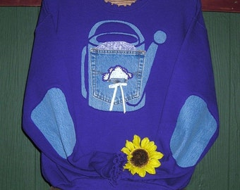 Purple Watercan Sweatshirt,  Sizes S-5X, Elbow Patches, Upcycled Clothing, Recyled Denim,Reverse Applique, Sizes S-5X,  Plus Size Clothing