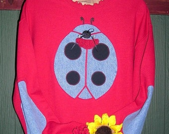 Red Ladybug Sweatshirt with Elbow Patches, Sizes S-5X, Plus Size Clothing, Free Shipping, Upcycled Clothing, Recycled Blue Jeans, Women's,