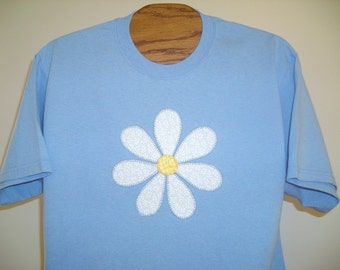 Applique Daisy on Light Blue Tshirt, Sizes S-5X, Plus Size Clothing ,Free Shipping, Flower, Nature, Easter Gift