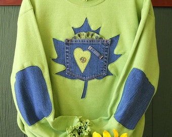 Kiwi Green Maple Leaf Womens Sweatshirt Upcycled Denim Elbow Patches  Recycled Blue Jeans Plus Size, Sizes S-5X Free Shipping Summer Fashion