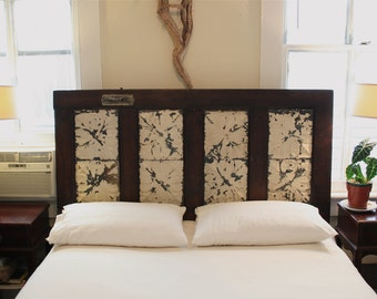 Queen Headboard Made from Salvaged Door and Antique Ceiling Tins