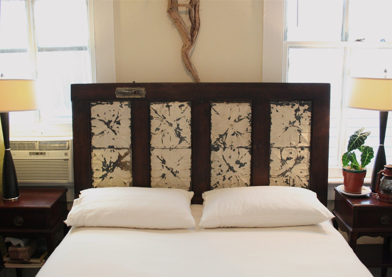 queen headboard made from salvaged door and antique ceiling. Black Bedroom Furniture Sets. Home Design Ideas