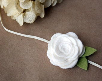 Large Felt Flower Headband for baby - White - newborn, infant, toddler, tween, teen, adult - Photography Prop