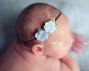 Baby Flowers Headband for baby - Feeling Blue Flower headband - newborn headband, infant, toddler, tween, teen, adult - Newborn Photo Prop