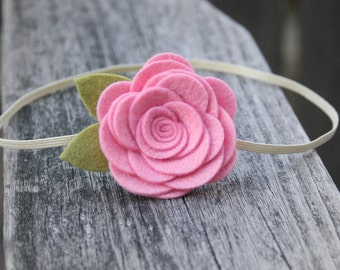Large Felt Flower Headband for Baby - Pink Baby Flower Headband, Cotton Candy Pink Headband - newborn infant toddler teen adult - Photo Prop