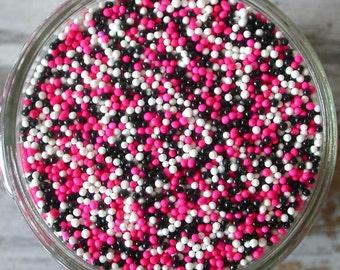 Sprinkles, 3 oz - Diva Non Pareils Mix (pink, white, black) - For Cupcakes - Cake Pops - Cookies - Ice Cream - Dipped Pretzels - Cakes