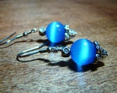 Blue Cats Eye Dangle Earrings