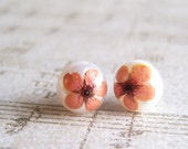 Orange flower pearl earrings - 10mm pearl stud - real pressed flower - post