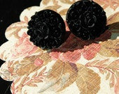 Midnight Black Victorian Rose Earrings