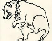 Original Screenprint - Dire Wolf (lines only)