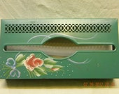 Vintage tissue box holder rose