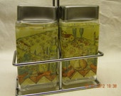 salt and pepper shakers with holder 1970s