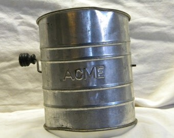 Vintage ACME flour sifter, cooking collectibles