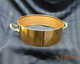 casserole dish serving tray cradle, copper and brass