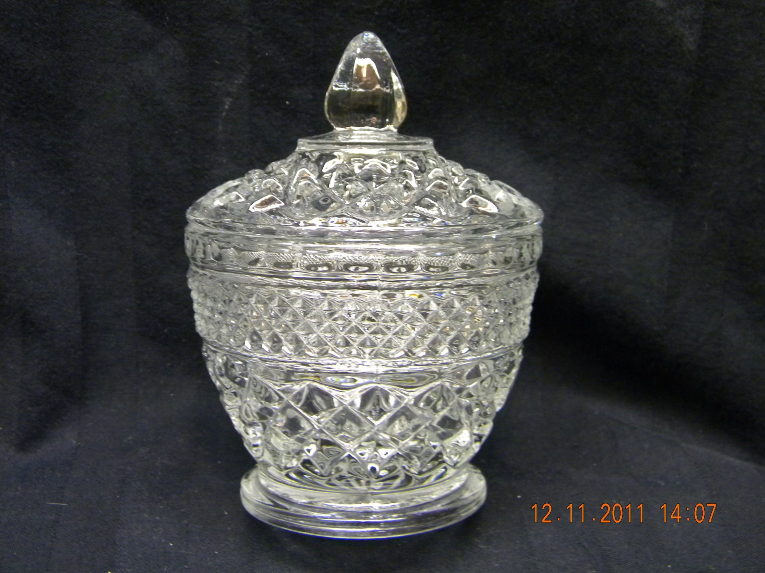 Vintage glass sugar dish candy vanity by heyjunkman