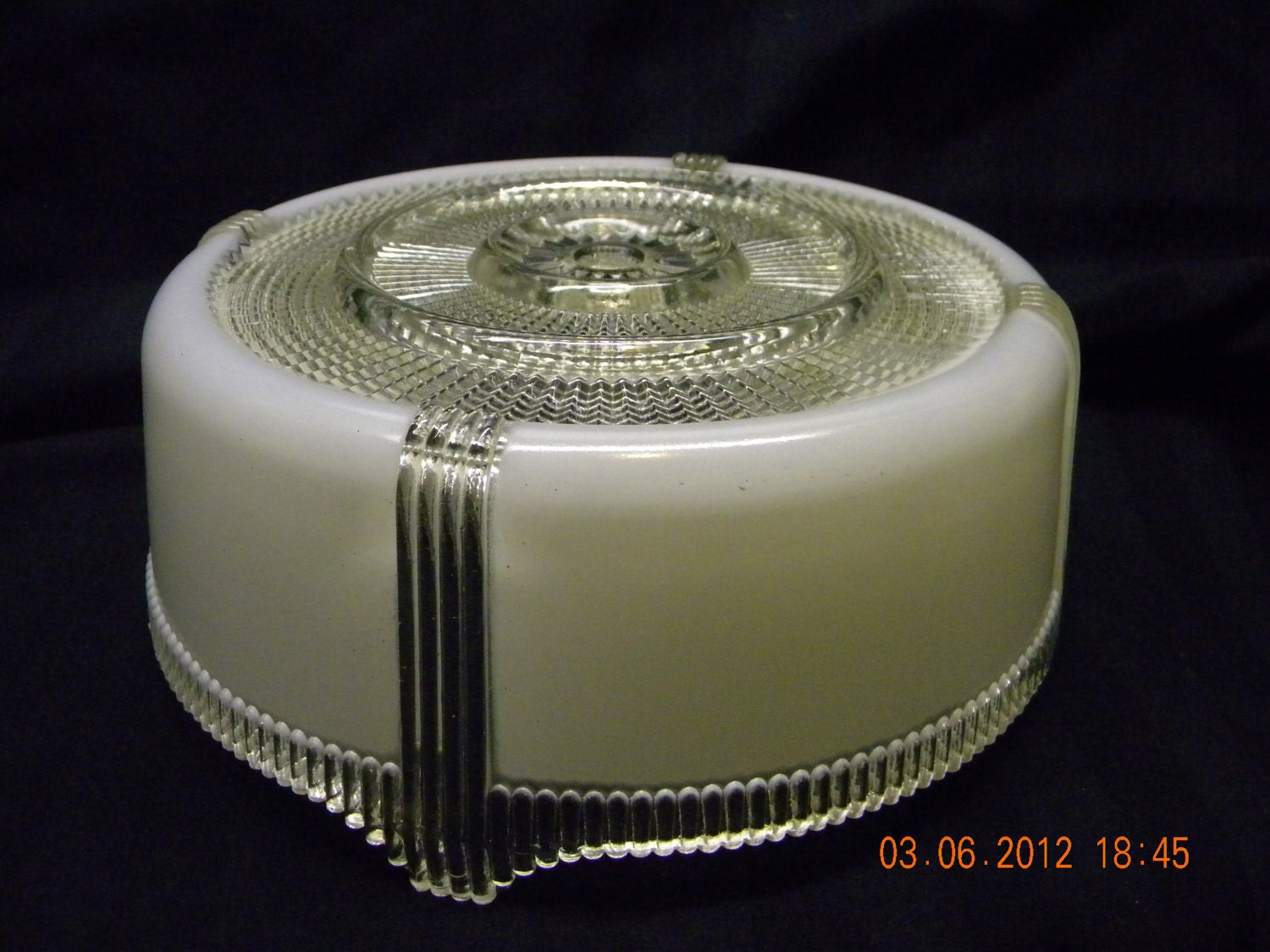 Ceiling Light Cover Only : Vintage ceiling light cover cut glass s