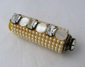 Vintage 1950's Pearl & Rhinestone decorative lipstick case for the vanity or dressing table
