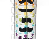 LAST ONE - Multi Color Polka Dot Mustache Coffee Mugs - set of 6 stackable mugs and chrome holder
