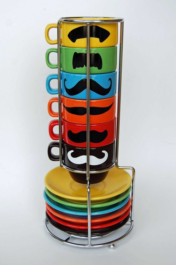 Multi Color Mustache Espresso Mugs and Saucers - set of 6 and a chrome holder - featured in Latina magazine