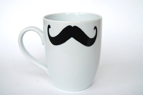 Mustache Coffee Mug - WHITE - select from eight different styles
