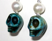 Turquoise Skull with Freshwater Pearls