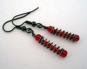 Red and black spring earrings