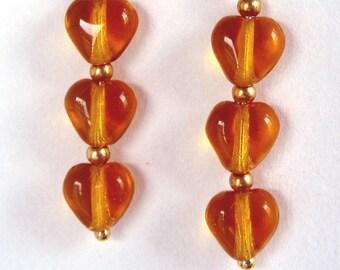Amber Hearts earrings