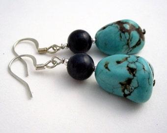 Faux turquoise stone earrings