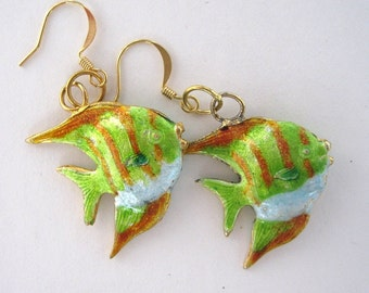 Cloisonne Fish earrings - green, white, orange, gold