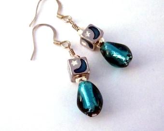 Aqua blue moon and stars cube earrings