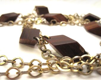 Vintage wood and gold necklace
